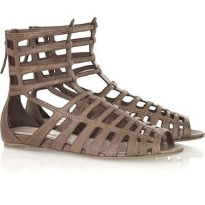 Miu Miu Leather Gladiator Sandals Black